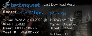 Last Download Result for 123.Net