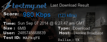 Last Download Result for 24Online Broadband Server