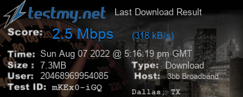 Last Download Result for 3BB Broadband