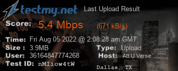Last Upload Result for AT&T U-verse