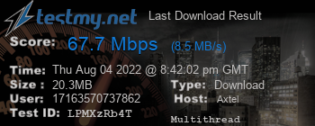 Last Download Result for AXTEL