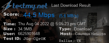 Last Download Result for Columbus Networks USA