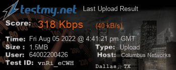 Last Upload Result for Columbus Networks USA