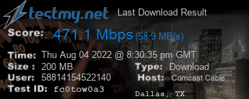 Last Download Result for Comcast Cable