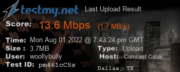 Last Upload Result for Comcast Cable