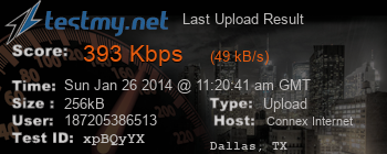 Last Upload Result for Connex Internet Services