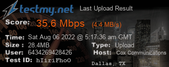 Last Upload Result for Cox Communications