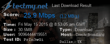 Last Download Result for DIRECTV-Broadband
