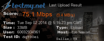 Last Upload Result for EPB Telecom