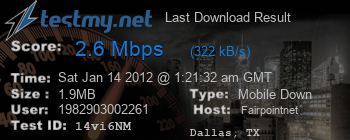 Last Download Result for Fairpoint.net
