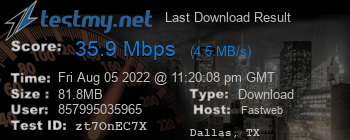 Last Download Result for Fastweb
