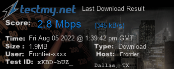 Last Download Result for Frontier Communications