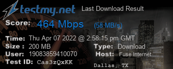 Last Download Result for Fuse Internet Access