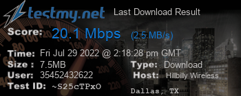 Last Download Result for Hillbilly Wireless Internet Inc.