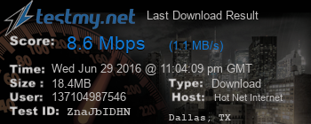 Last Download Result for HOT NET Internet Services Ltds