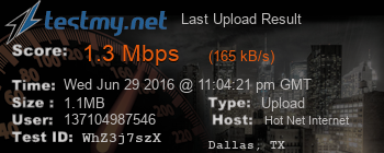 Last Upload Result for HOT NET Internet Services Ltds