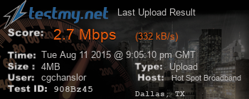 Last Upload Result for Hot Spot Broadband