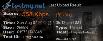 Last Upload Result for Hughes Network Systems