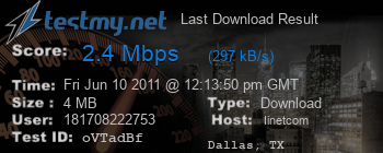 Last Download Result for Iinet.com