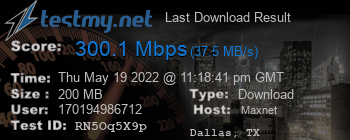 Last Download Result for MaxNet