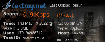 Last Upload Result for MAXNET
