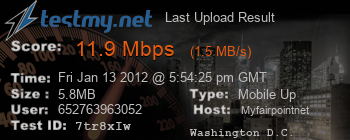 Last Upload Result for Myfairpoint.net