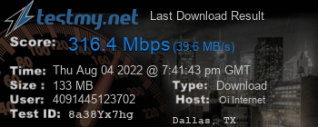 Last Download Result for Oi Internet