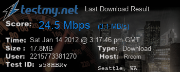 Last Download Result for Roadrunner (Time Warner Cable)