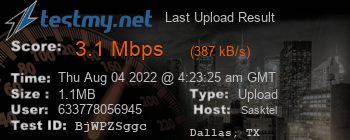 Last Upload Result for SaskTel