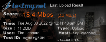 Last Upload Result for Sky Broadband