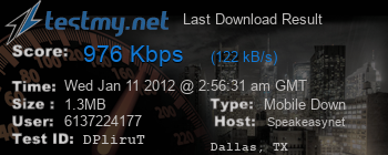 Last Download Result for Speakeasy.net
