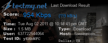 Last Download Result for Speednet.com