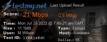 Last Upload Result for Suddenlink Communications