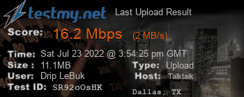 Last Upload Result for TalkTalk