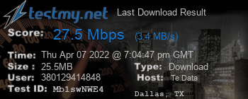 Last Download Result for TE Data