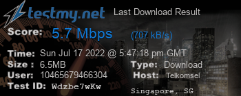 Last Download Result for Telkomsel