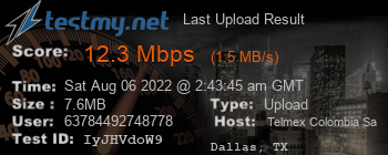 Last Upload Result for Telmex Colombia S.A.