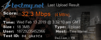 Last Upload Result for Time Warner