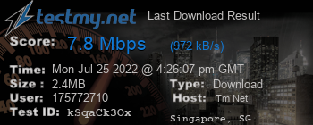 Last Download Result for TM Net