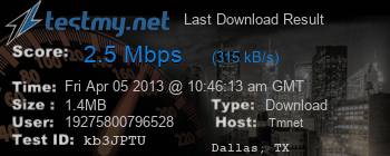 Last Download Result for TMNET