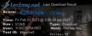 Last Download Result for TTML ADSL Res