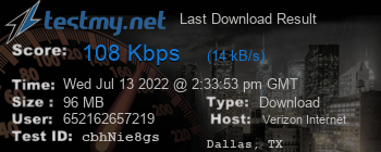 Last Download Result for Verizon Internet