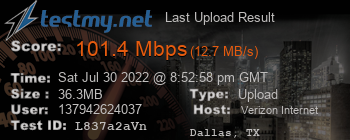 Last Upload Result for Verizon Internet