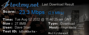 Last Download Result for Virgin Media