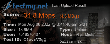 Last Upload Result for Virgin Media