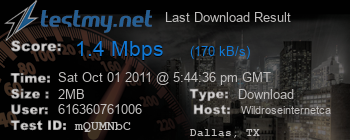 Last Download Result for Wildroseinternet.ca