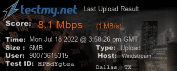 Last Upload Result for Windstream Communications