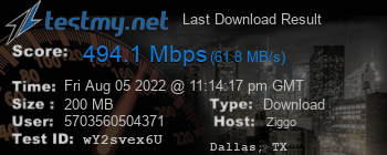 Last Download Result for Ziggo