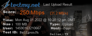 Last Upload Result for Ziggo